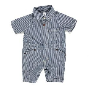 BabyGap blue and white striped jumpsuit romper